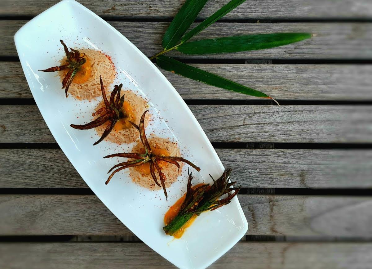 Fried Okra with Mango Sauce